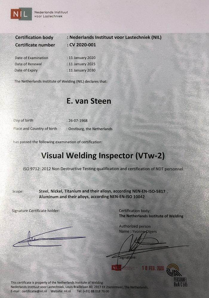 certificaat visual welding inspector 2020